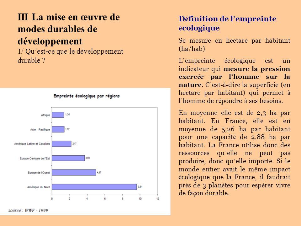 D é finition de l empreinte é cologique Se mesure en hectare par habitant (ha/hab) L empreinte é cologique est un indicateur qui mesure la pression ex