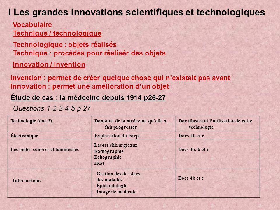 I Les grandes innovations scientifiques et technologiques Vocabulaire Technique / technologique Technologique : objets réalisés Technique : procédés p