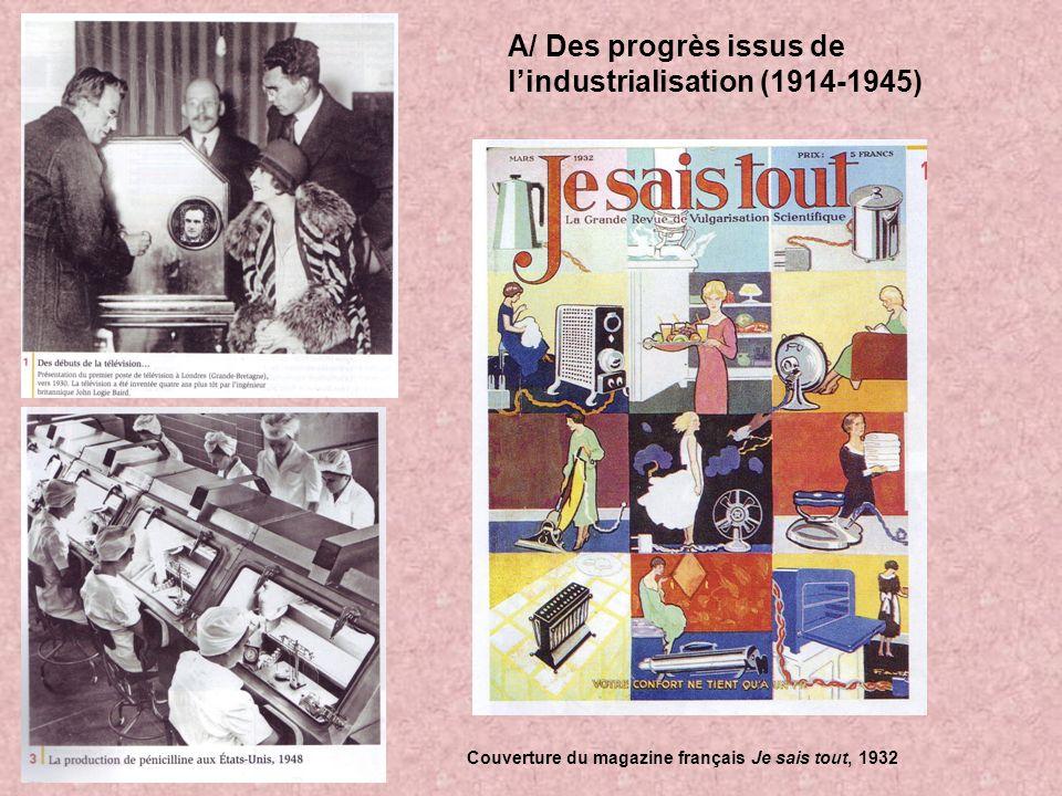 A/ Des progrès issus de lindustrialisation (1914-1945) Couverture du magazine français Je sais tout, 1932