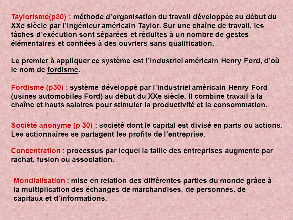 Taylorisme(p30) : méthode dorganisation du travail développée au début du XXe siècle par lingénieur américain Taylor. Sur une chaîne de travail, les t