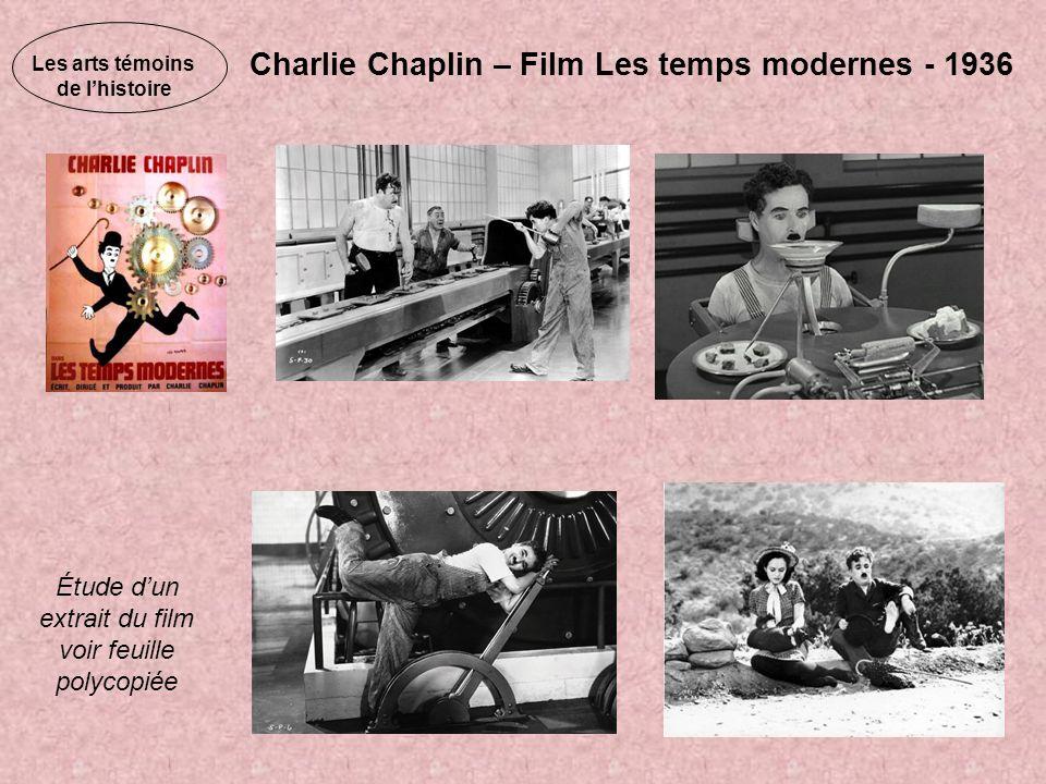Les arts témoins de lhistoire Charlie Chaplin – Film Les temps modernes - 1936 Étude dun extrait du film voir feuille polycopiée