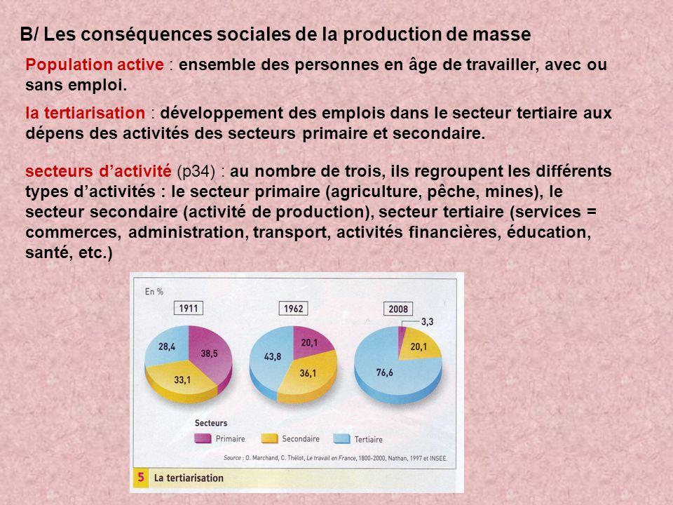 B/ Les conséquences sociales de la production de masse Population active : ensemble des personnes en âge de travailler, avec ou sans emploi. la tertia