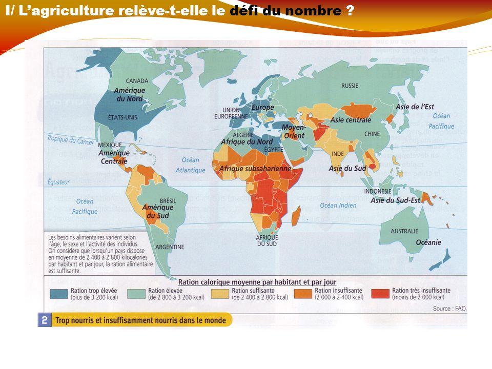 Vocabulaire : - ration alimentaire - sous-alimentation ou sous-nutrition (cf p60) - sécurité alimentaire(cf p60) - rendements (cf p60) - révolution verte (cf p60) II/ Les différents systèmes agricoles répondent-ils au défi alimentaire .