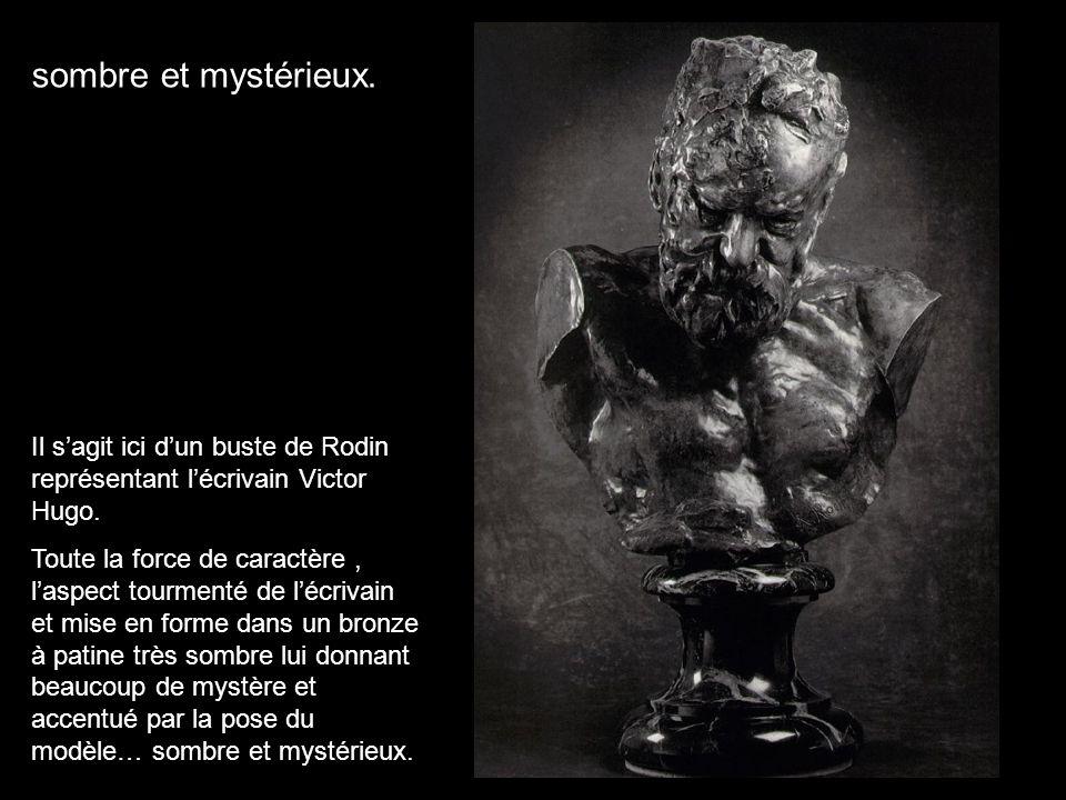 Il sagit ici dun buste de Rodin représentant lécrivain Victor Hugo. Toute la force de caractère, laspect tourmenté de lécrivain et mise en forme dans