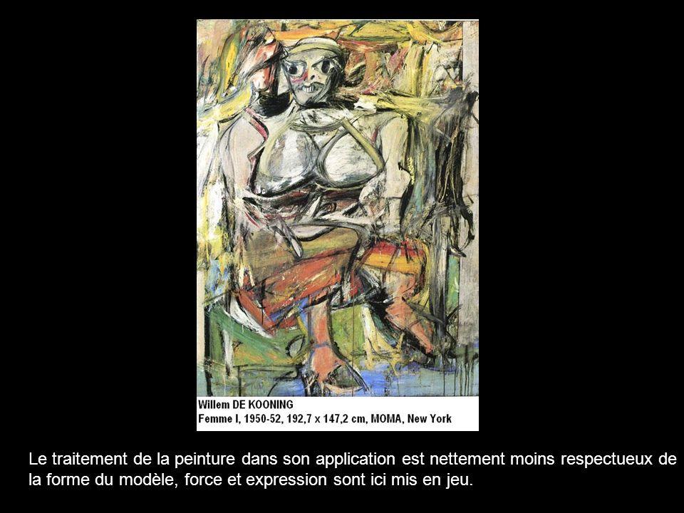 Le traitement de la peinture dans son application est nettement moins respectueux de la forme du modèle, force et expression sont ici mis en jeu.