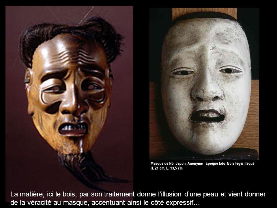 La matière, ici le bois, par son traitement donne lillusion dune peau et vient donner de la véracité au masque, accentuant ainsi le côté expressif…