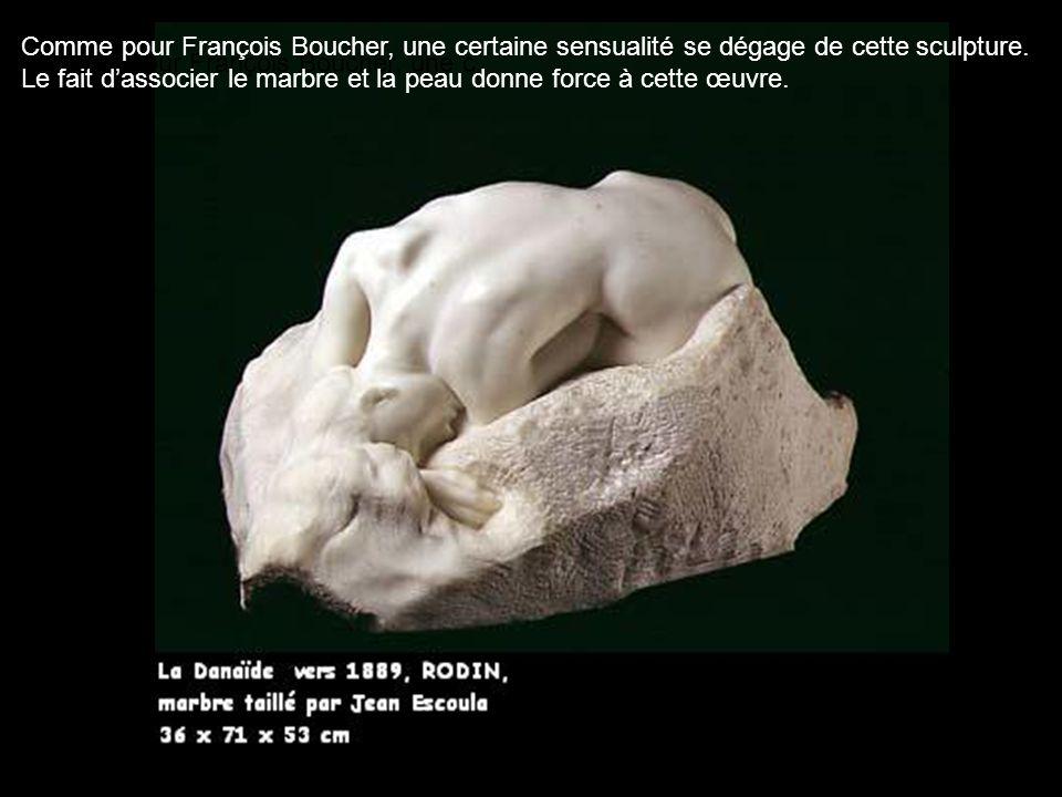 Comme pour François Boucher, une c Comme pour François Boucher, une certaine sensualité se dégage de cette sculpture. Le fait dassocier le marbre et l