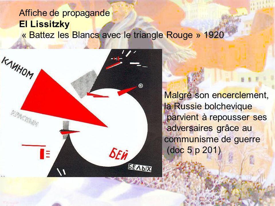 Affiche de propagande El Lissitzky « Battez les Blancs avec le triangle Rouge » 1920 Malgré son encerclement, la Russie bolchevique parvient à repouss