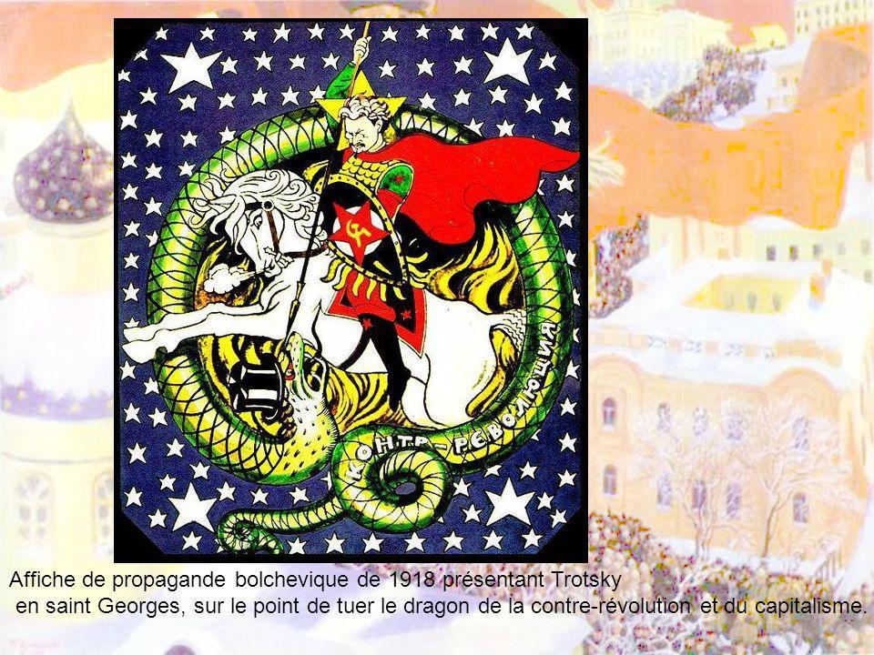 Affiche de propagande bolchevique de 1918 présentant Trotsky en saint Georges, sur le point de tuer le dragon de la contre-révolution et du capitalism