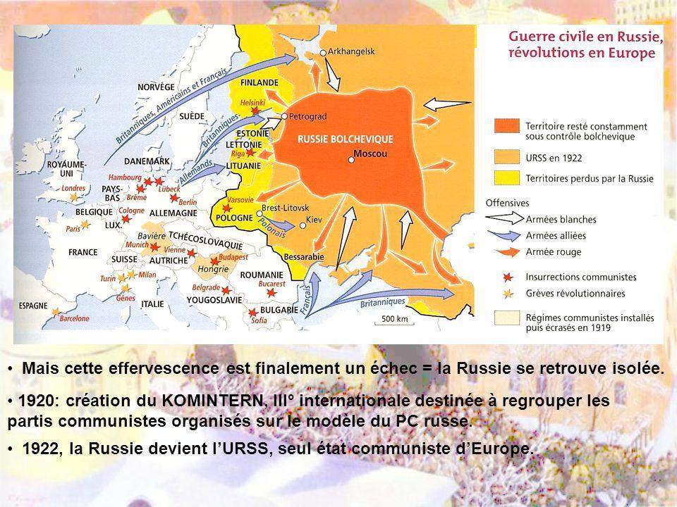 Mais cette effervescence est finalement un échec = la Russie se retrouve isolée. 1920: création du KOMINTERN, III° internationale destinée à regrouper