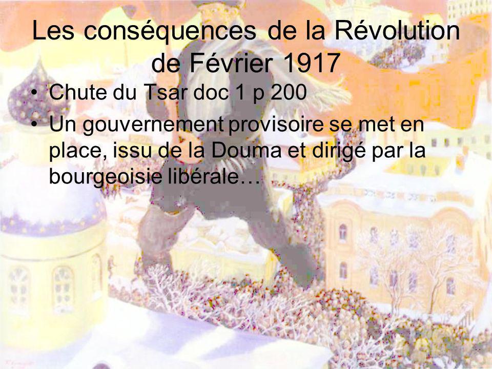Les conséquences de la Révolution de Février 1917 Chute du Tsar doc 1 p 200 Un gouvernement provisoire se met en place, issu de la Douma et dirigé par