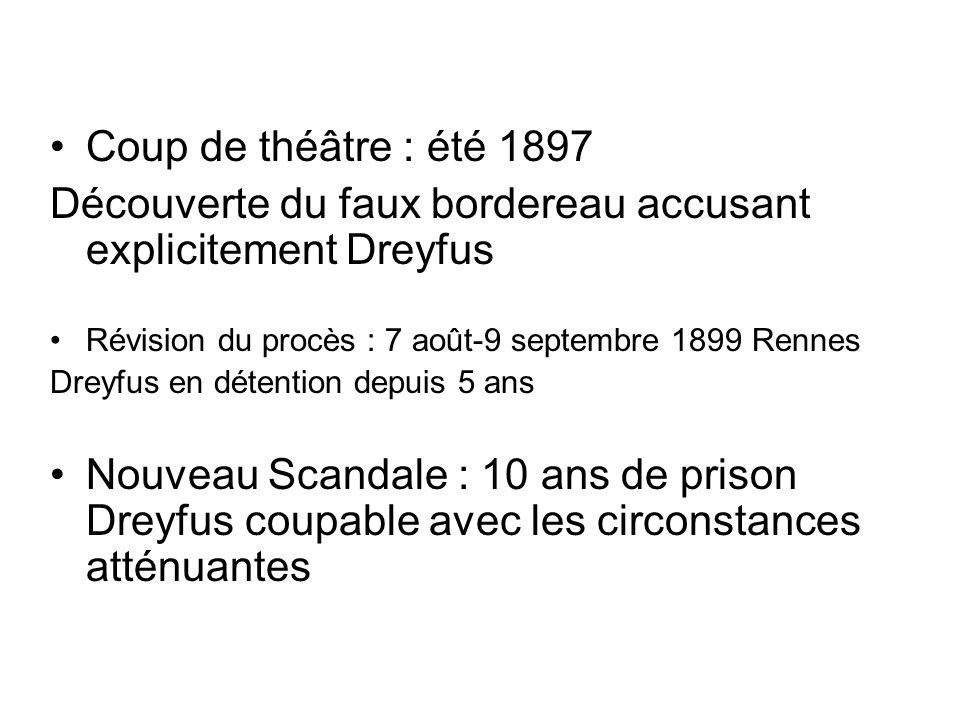 Coup de théâtre : été 1897 Découverte du faux bordereau accusant explicitement Dreyfus Révision du procès : 7 août-9 septembre 1899 Rennes Dreyfus en