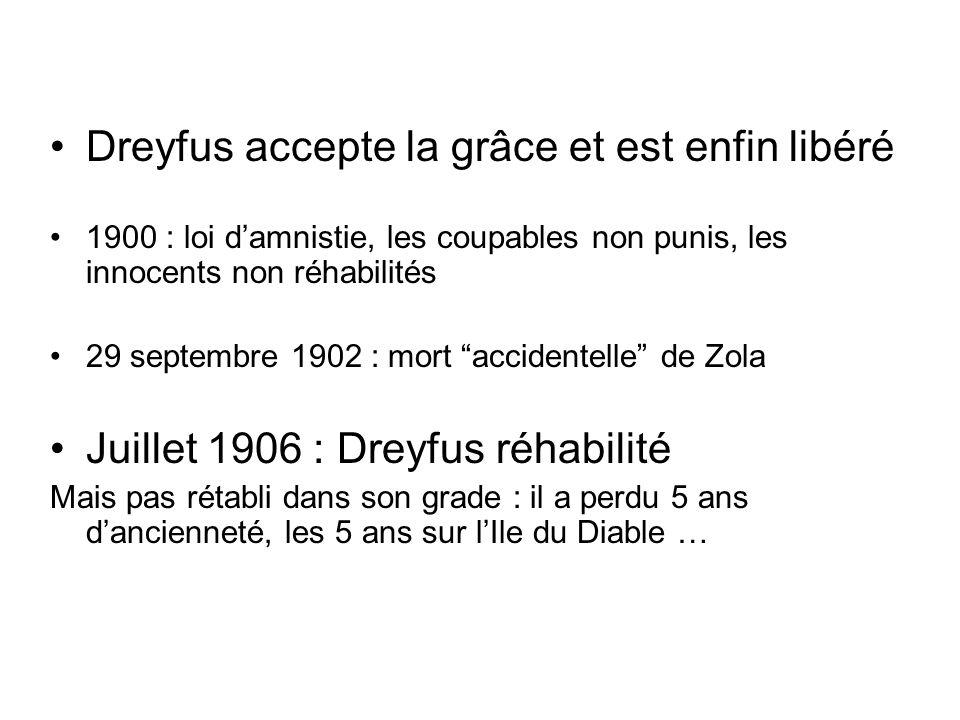 Dreyfus accepte la grâce et est enfin libéré 1900 : loi damnistie, les coupables non punis, les innocents non réhabilités 29 septembre 1902 : mort acc
