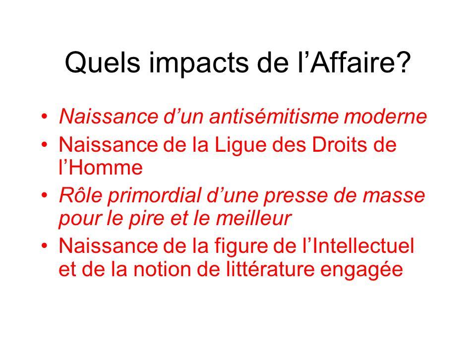 Quels impacts de lAffaire? Naissance dun antisémitisme moderne Naissance de la Ligue des Droits de lHomme Rôle primordial dune presse de masse pour le