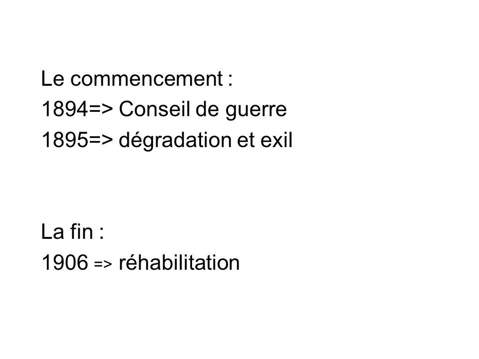 Le commencement : 1894=> Conseil de guerre 1895=> dégradation et exil La fin : 1906 => réhabilitation