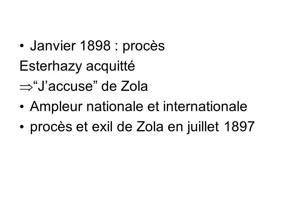 Janvier 1898 : procès Esterhazy acquitté Jaccuse de Zola Ampleur nationale et internationale procès et exil de Zola en juillet 1897