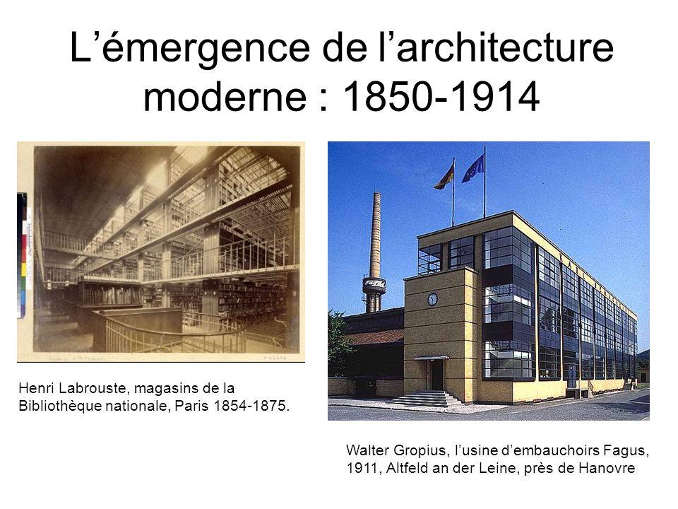 Lémergence de larchitecture moderne : 1850-1914 Henri Labrouste, magasins de la Bibliothèque nationale, Paris 1854-1875. Walter Gropius, lusine dembau