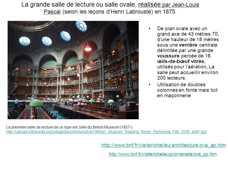 La grande salle de lecture ou salle ovale, réalisée par Jean-Louis Pascal (selon les leçons dHenri Labrouste) en 1875. De plan ovale avec un grand axe