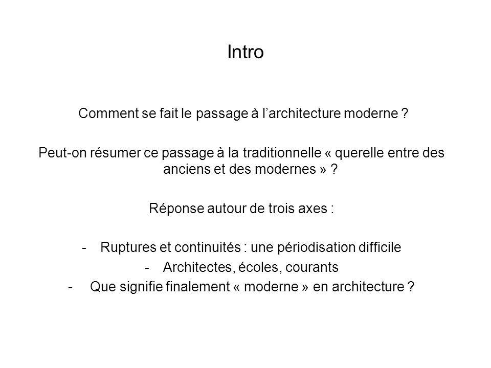 Intro Comment se fait le passage à larchitecture moderne ? Peut-on résumer ce passage à la traditionnelle « querelle entre des anciens et des modernes