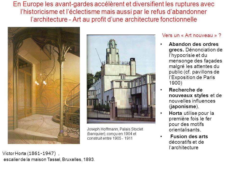 En Europe les avant-gardes accélèrent et diversifient les ruptures avec lhistoricisme et léclectisme mais aussi par le refus dabandonner larchitecture