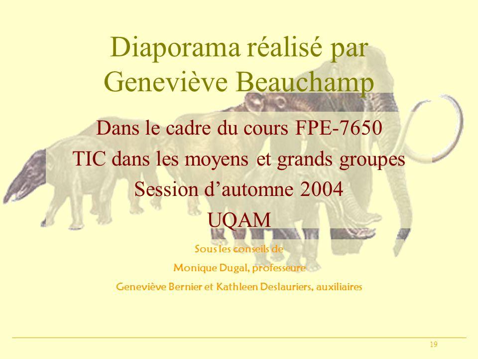 19 Diaporama réalisé par Geneviève Beauchamp Dans le cadre du cours FPE-7650 TIC dans les moyens et grands groupes Session dautomne 2004 UQAM Sous les