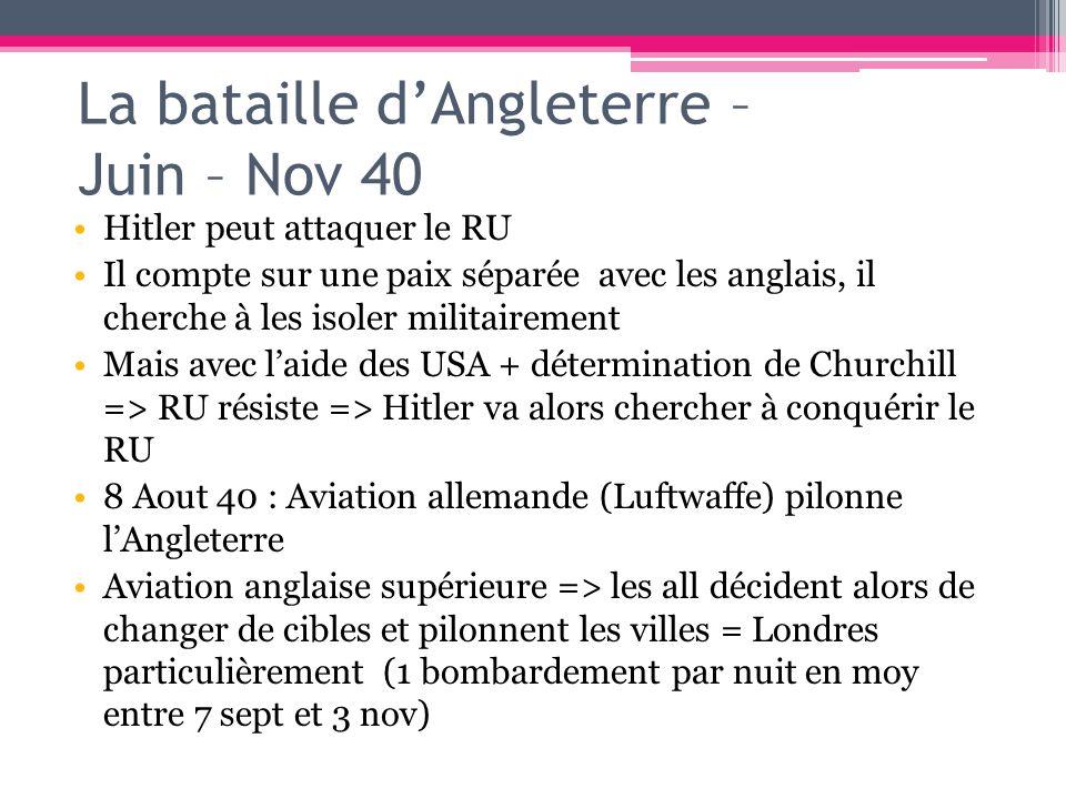 La bataille dAngleterre – Juin – Nov 40 Hitler peut attaquer le RU Il compte sur une paix séparée avec les anglais, il cherche à les isoler militairem