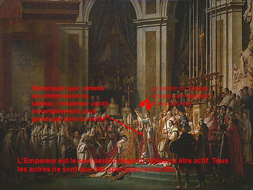 Le centre du tableau occupé par Napoléon et la couronne LEmpereur est le seul personnage du tableau à être actif. Tous les autres ne sont que des spec