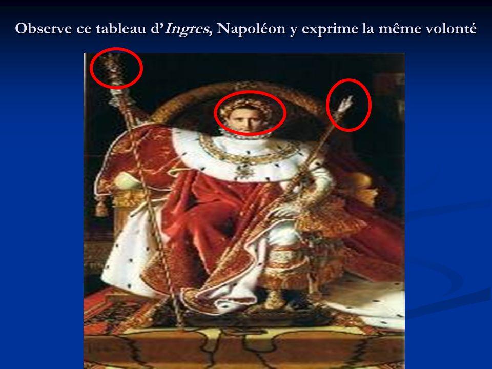 Observe ce tableau dIngres, Napoléon y exprime la même volonté
