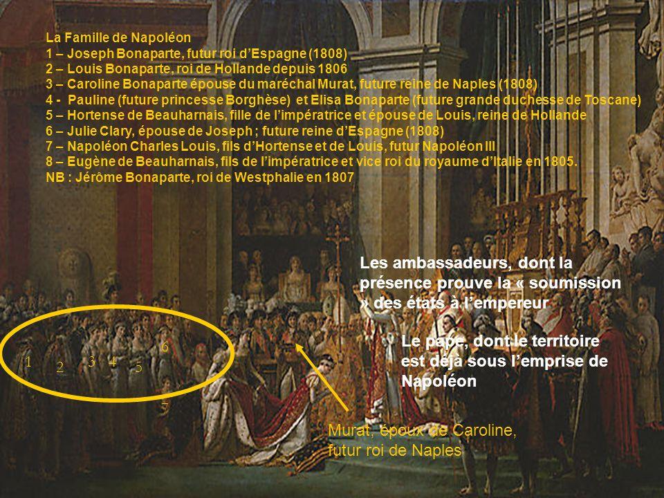 La Famille de Napoléon 1 – Joseph Bonaparte, futur roi dEspagne (1808) 2 – Louis Bonaparte, roi de Hollande depuis 1806 3 – Caroline Bonaparte épouse