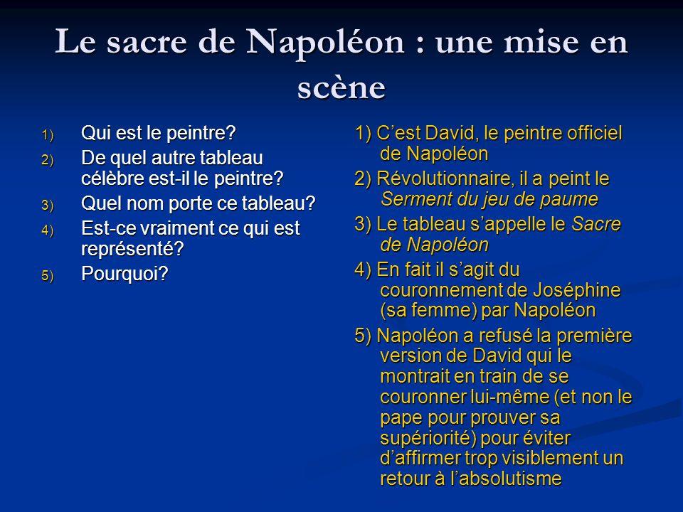 Le sacre de Napoléon : une mise en scène 1) Qui est le peintre? 2) De quel autre tableau célèbre est-il le peintre? 3) Quel nom porte ce tableau? 4) E