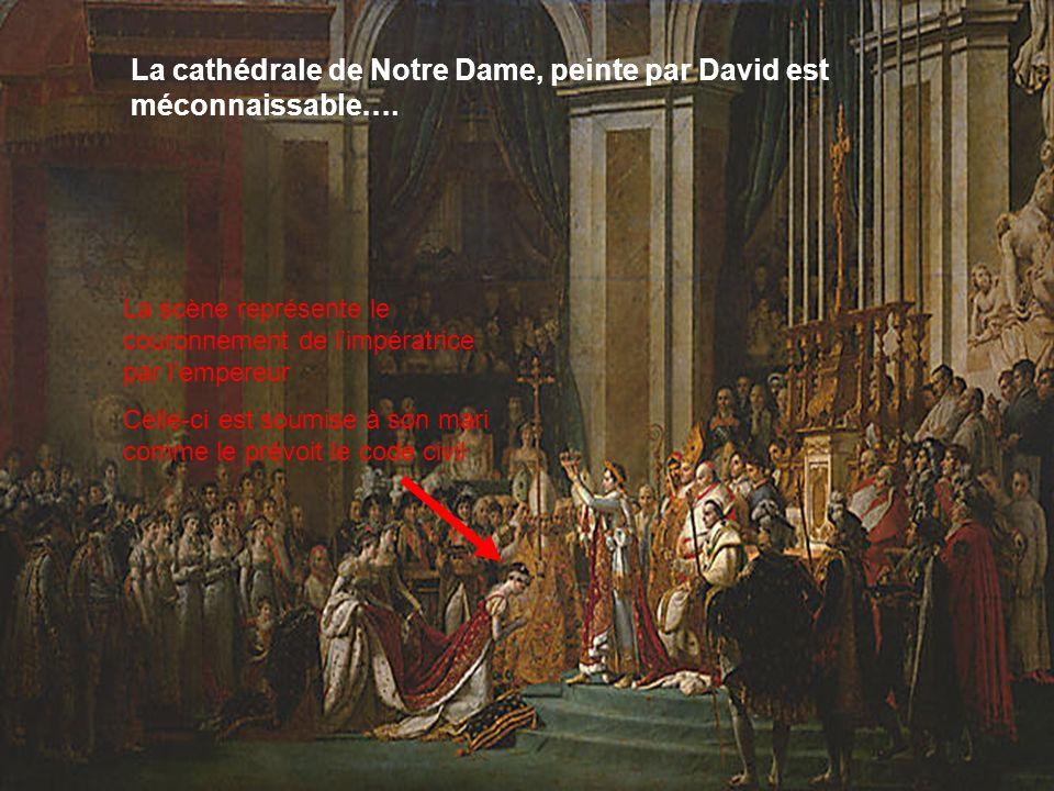 La scène représente le couronnement de limpératrice par lempereur Celle-ci est soumise à son mari comme le prévoit le code civil La cathédrale de Notr