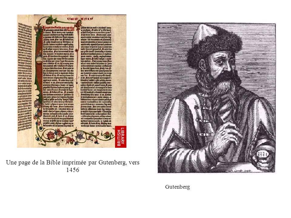 Une page de la Bible imprimée par Gutenberg, vers 1456 Gutenberg