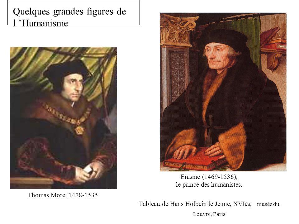 Erasme (1469-1536), le prince des humanistes. Tableau de Hans Holbein le Jeune, XVIès, musée du Louvre, Paris Quelques grandes figures de l Humanisme