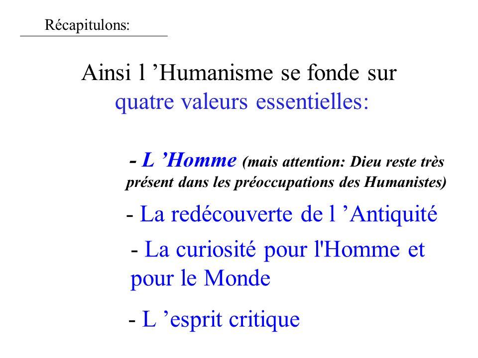 Ainsi l Humanisme se fonde sur quatre valeurs essentielles: - L Homme (mais attention: Dieu reste très présent dans les préoccupations des Humanistes)