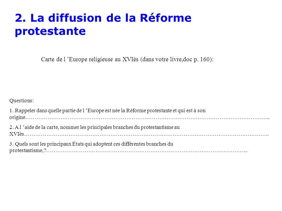 2. La diffusion de la Réforme protestante Carte de l Europe religieuse au XVIès (dans votre livre,doc p. 160): Questions: 1. Rappeler dans quelle part
