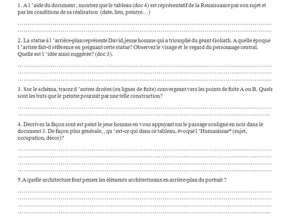 1. A l aide du document, montrez que le tableau (doc 4) est représentatif de la Renaissance par son sujet et par les conditions de sa réalisation (dat