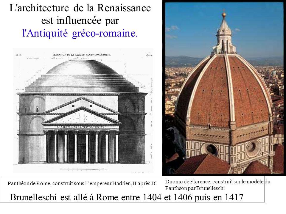 L'architecture de la Renaissance est influencée par l'Antiquité gréco-romaine. Panthéon de Rome, construit sous l empereur Hadrien, II après JC Duomo