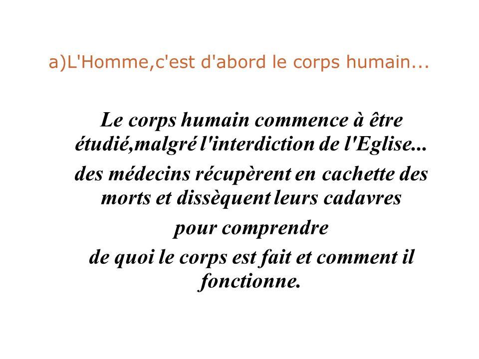 a)L'Homme,c'est d'abord le corps humain... Le corps humain commence à être étudié,malgré l'interdiction de l'Eglise... des médecins récupèrent en cach