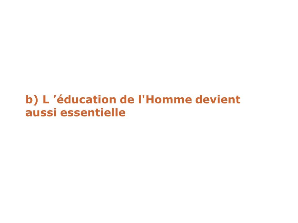 b) L éducation de l'Homme devient aussi essentielle