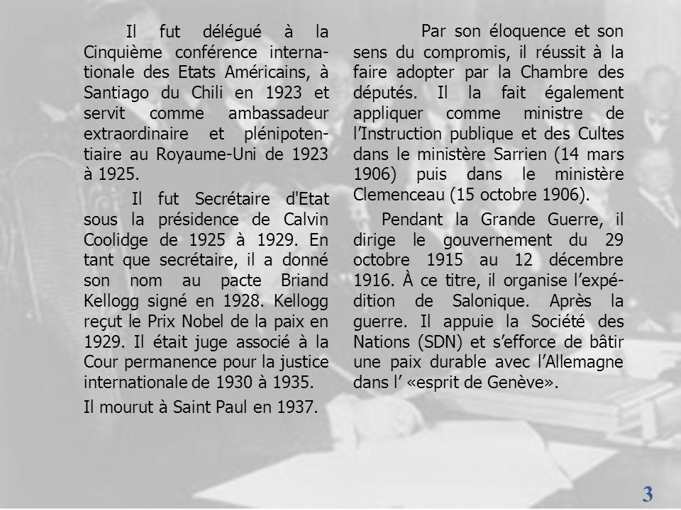 3 3 Il fut délégué à la Cinquième conférence interna- tionale des Etats Américains, à Santiago du Chili en 1923 et servit comme ambassadeur extraordin