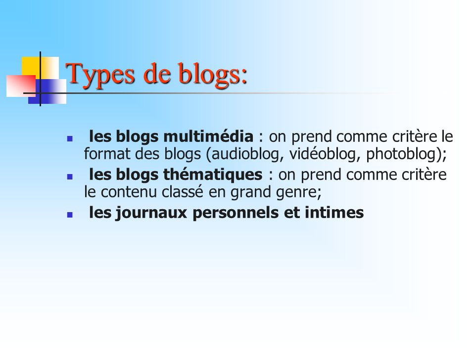 Types de blogs: les blogs multimédia : on prend comme critère le format des blogs (audioblog, vidéoblog, photoblog); les blogs thématiques : on prend