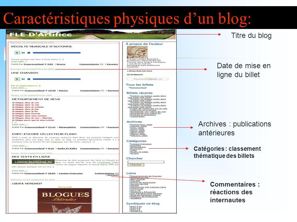 Caractéristiques physiques dun blog: Titre du blog Date de mise en ligne du billet Archives : publications antérieures Commentaires : réactions des in