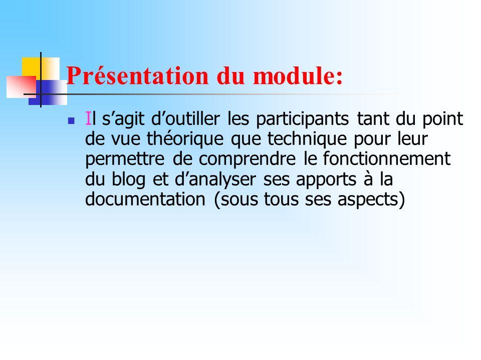 Présentation du module: Il sagit doutiller les participants tant du point de vue théorique que technique pour leur permettre de comprendre le fonction