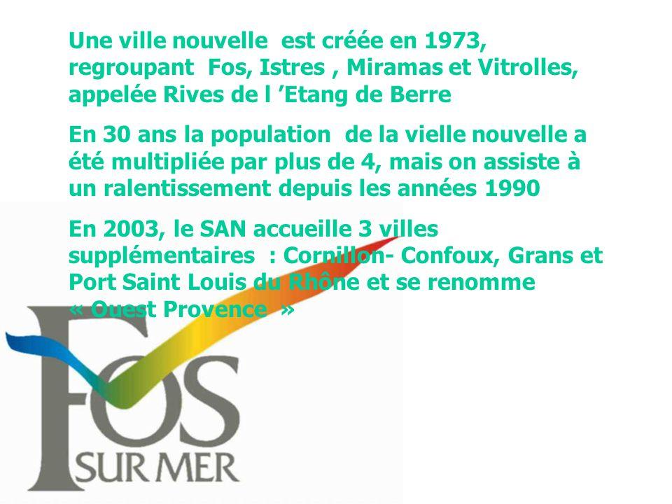 Une ville nouvelle est créée en 1973, regroupant Fos, Istres, Miramas et Vitrolles, appelée Rives de l Etang de Berre En 30 ans la population de la vielle nouvelle a été multipliée par plus de 4, mais on assiste à un ralentissement depuis les années 1990 En 2003, le SAN accueille 3 villes supplémentaires : Cornillon- Confoux, Grans et Port Saint Louis du Rhône et se renomme « Ouest Provence »