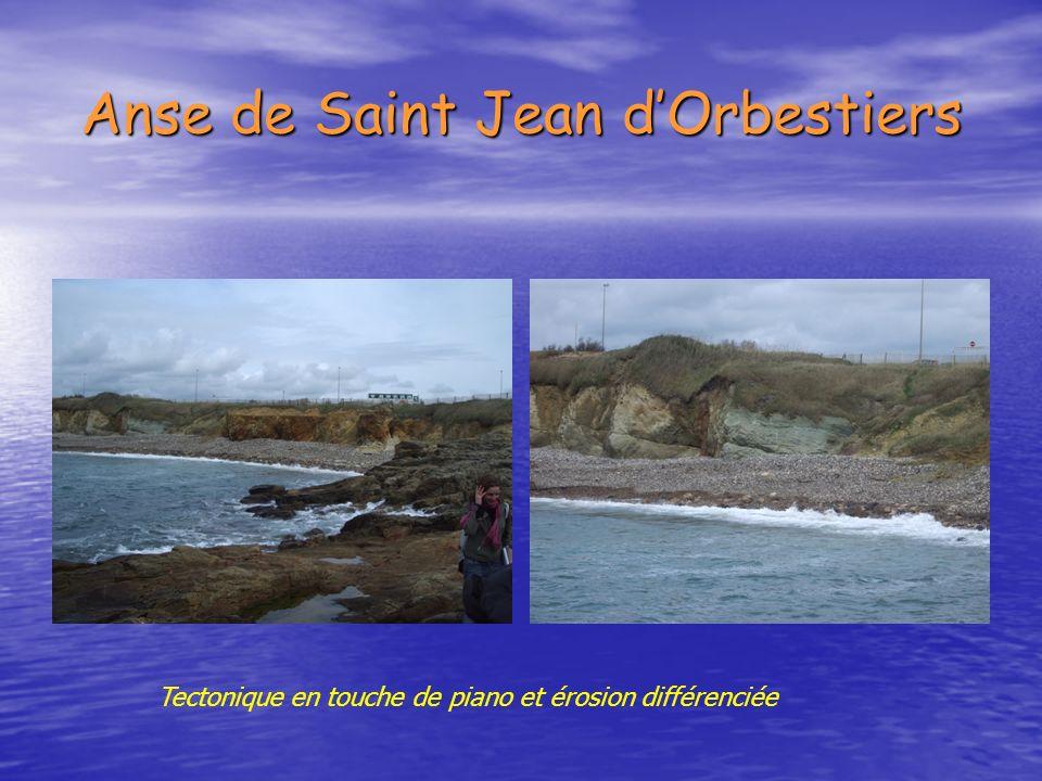 Anse de Saint Jean dOrbestiers Tectonique en touche de piano et érosion différenciée