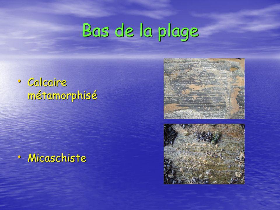 Bas de la plage Calcaire métamorphisé Calcaire métamorphisé Micaschiste Micaschiste