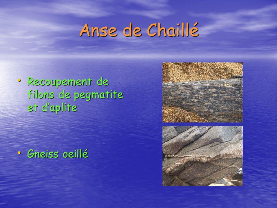 Anse de Chaillé Recoupement de filons de pegmatite et daplite Recoupement de filons de pegmatite et daplite Gneiss oeillé Gneiss oeillé