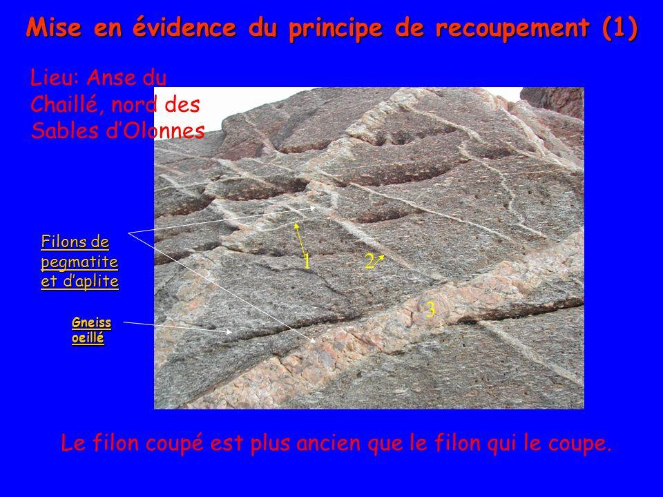 Filons de pegmatite et daplite Filons de pegmatite et daplite Gneiss oeillé Gneiss oeillé Le filon coupé est plus ancien que le filon qui le coupe. 2