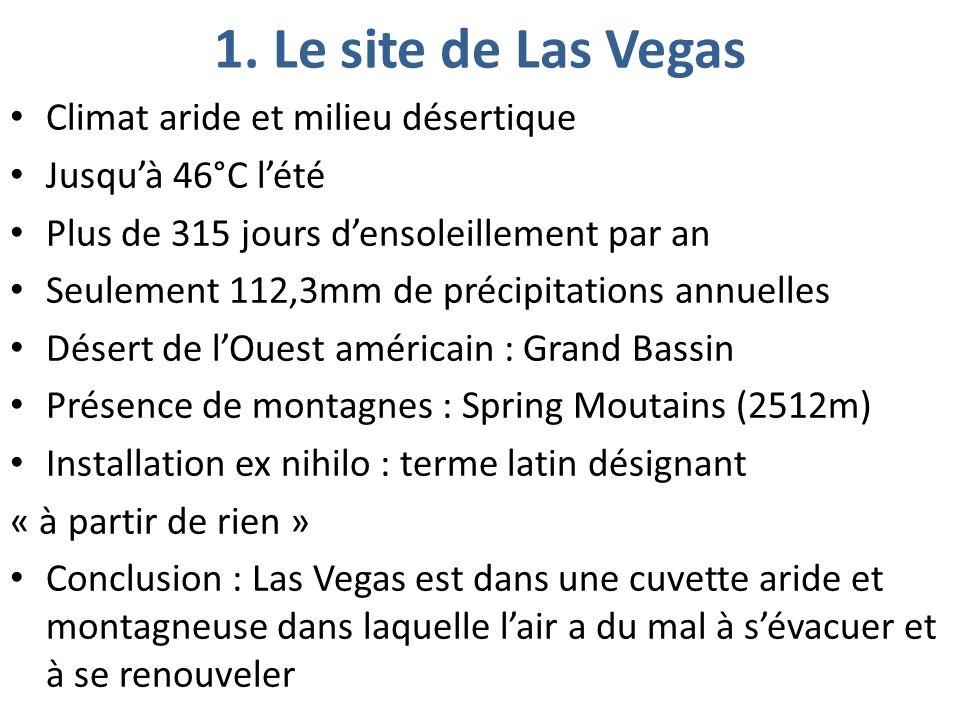 Climat aride et milieu désertique Jusquà 46°C lété Plus de 315 jours densoleillement par an Seulement 112,3mm de précipitations annuelles Désert de lOuest américain : Grand Bassin Présence de montagnes : Spring Moutains (2512m) Installation ex nihilo : terme latin désignant « à partir de rien » Conclusion : Las Vegas est dans une cuvette aride et montagneuse dans laquelle lair a du mal à sévacuer et à se renouveler 1.