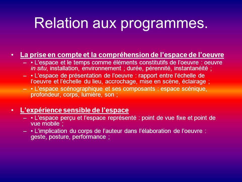 Relation aux programmes. La prise en compte et la compréhension de lespace de loeuvre – Lespace et le temps comme éléments constitutifs de loeuvre : o